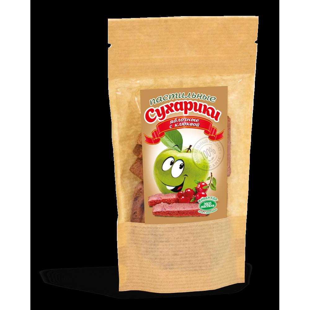 Пастильные сухарики яблочные с клюквой 60гр.