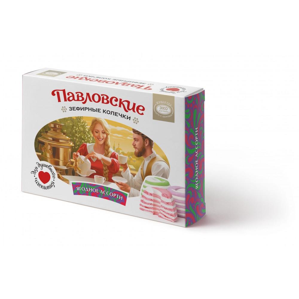 Зефир «Павловские зефирные колечки со вкусом ягодного ассорти» 140 г